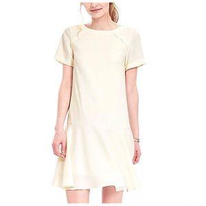 Banana Republic Ivory Minimalistic Flounce Dress